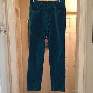 DG2 velvet 5 pocket dark teal pants, size 8 Tall